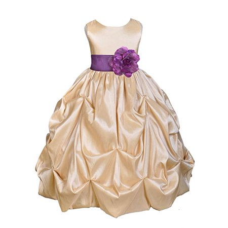 - Ekidsbridal Champagne Satin Taffeta Pick-Up Bubble Flower Girl Dress Birthday Girl Dress Princess Dresses Ballroom Gown Special Occasion Dresses Easter Summer Dresses Pageant Gown Daily Dresses 301S