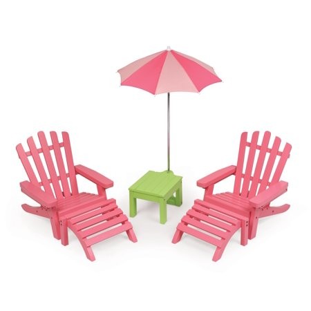 Incredible Badger Basket Two Adirondack Doll Chairs With Table And Umbrella Pink Green Fits American Girl My Life As Most 18 Dolls Home Interior And Landscaping Ymoonbapapsignezvosmurscom