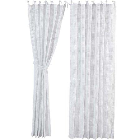 White Farmhouse Curtains Nora Tie Top Cotton Tie Back(s) Sheer Polka Dots 84x55 Panel -