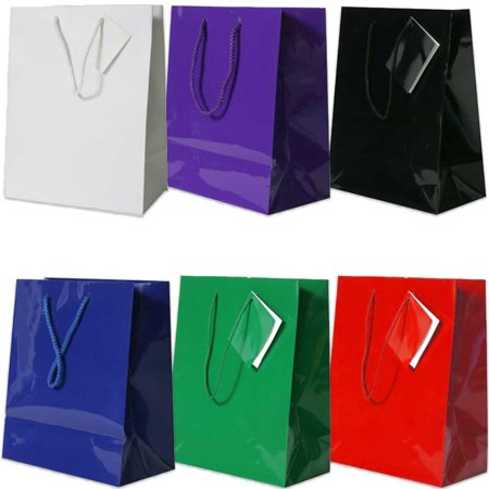 JAM Paper Glossy Gift Bags with Rope Handles and Attached Gift Tags, Medium, 8 x 10 x 4, Assorted, 6/pack