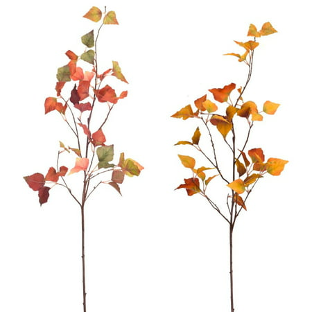 Club Pack of 12 Vibrantly Colored Artificial Decorative Birch Leaf Sprays 37