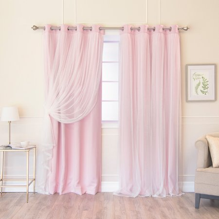 Full Overlay Panels - Best Home Fashion Marry Me Blackout Grommet Curtain Panel Pair with Tulle Overlay