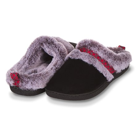Floopi Indoor, Outdoor House Slippers for Women- Memory Foam Insole, Hard Rubber Outsole- Fur Lined Clog, Aztec Trim- Warm Winter Bedroom Mules- Home Slip Ons Corduroy Slip Ons