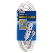 Prime Wire 9-Foot 16/3 SJT 3-Outlet Indoor Cord, White