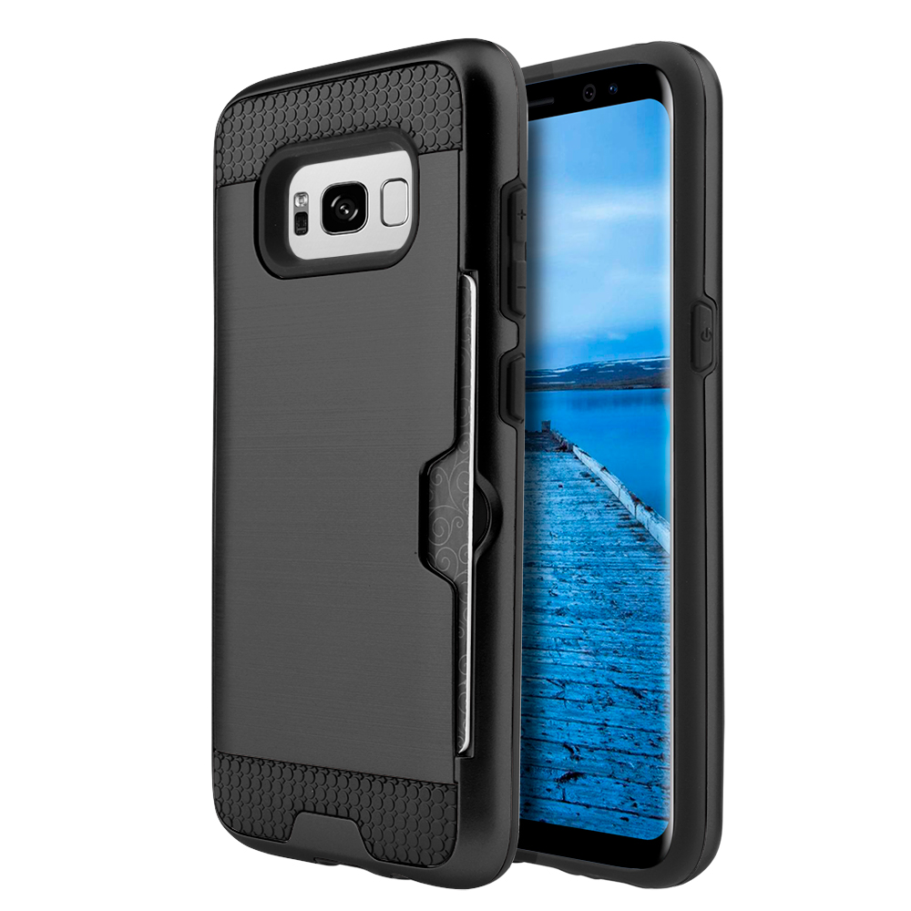 Samsung Galaxy S8 Case, Super Slim Brushed Metallic Hybrid Hard Cover on TPU (Silver) with Travel Wallet Phone Stand