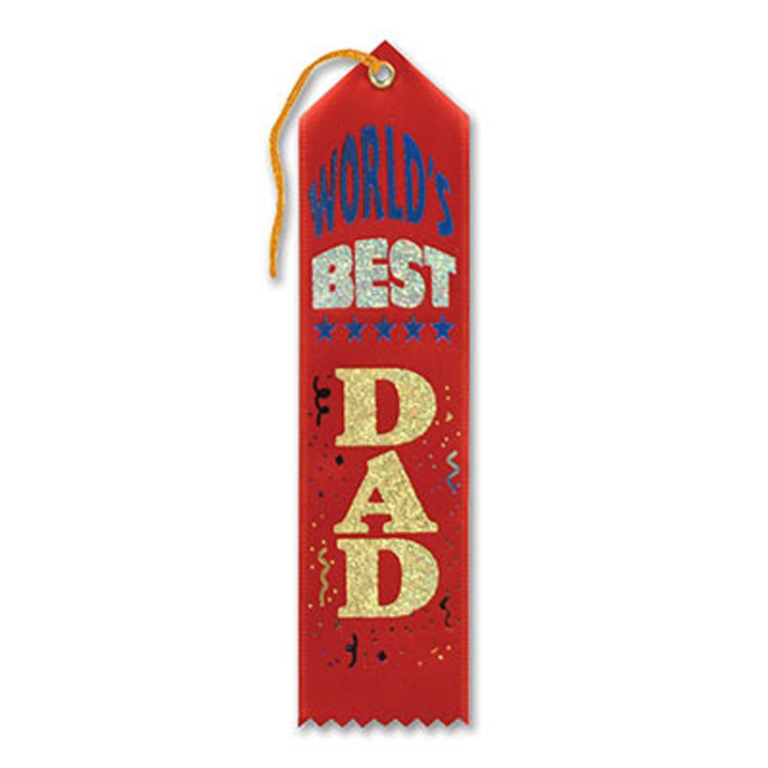 "Pack of 6 Red ""World's Best Dad Award"" School Award Ribbon Bookmarks 8"""