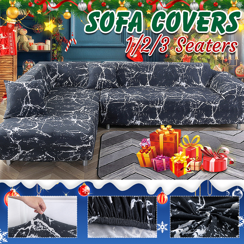 Blue Stretch Sofa Covers For 1//2//3//4 L-Shaped Seater Protector Couch Slipcover