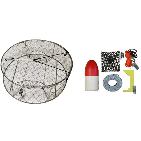 """Stainless Steel Crab Trap with Zinc Anode & Accessory Kit (100' Lead CoreRope, Clipper,Harness,Bait Case & 11"""" Red/White Float) - image 1 of 2"""