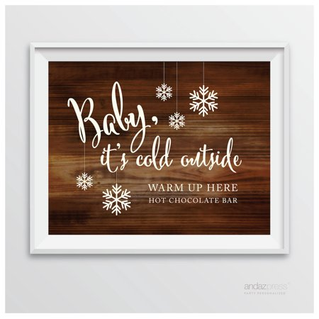 Baby It's Cold Outside - Hot Chocolate Rustic Wood Wedding Party Signs (Baby Word)