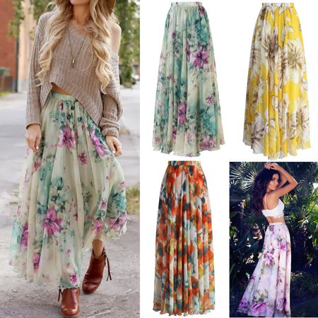 Womens Floral Gypsy Boho Long Maxi Full Skirt Party Beach Dress Evening Dresses High Waist Flared Pleated Maxi Dress