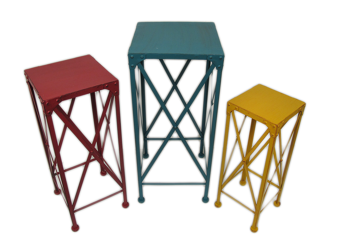 Blue Red and Yellow Decorative Metal Nesting Plant Stands Set of 3 by Upper Deck, LTD