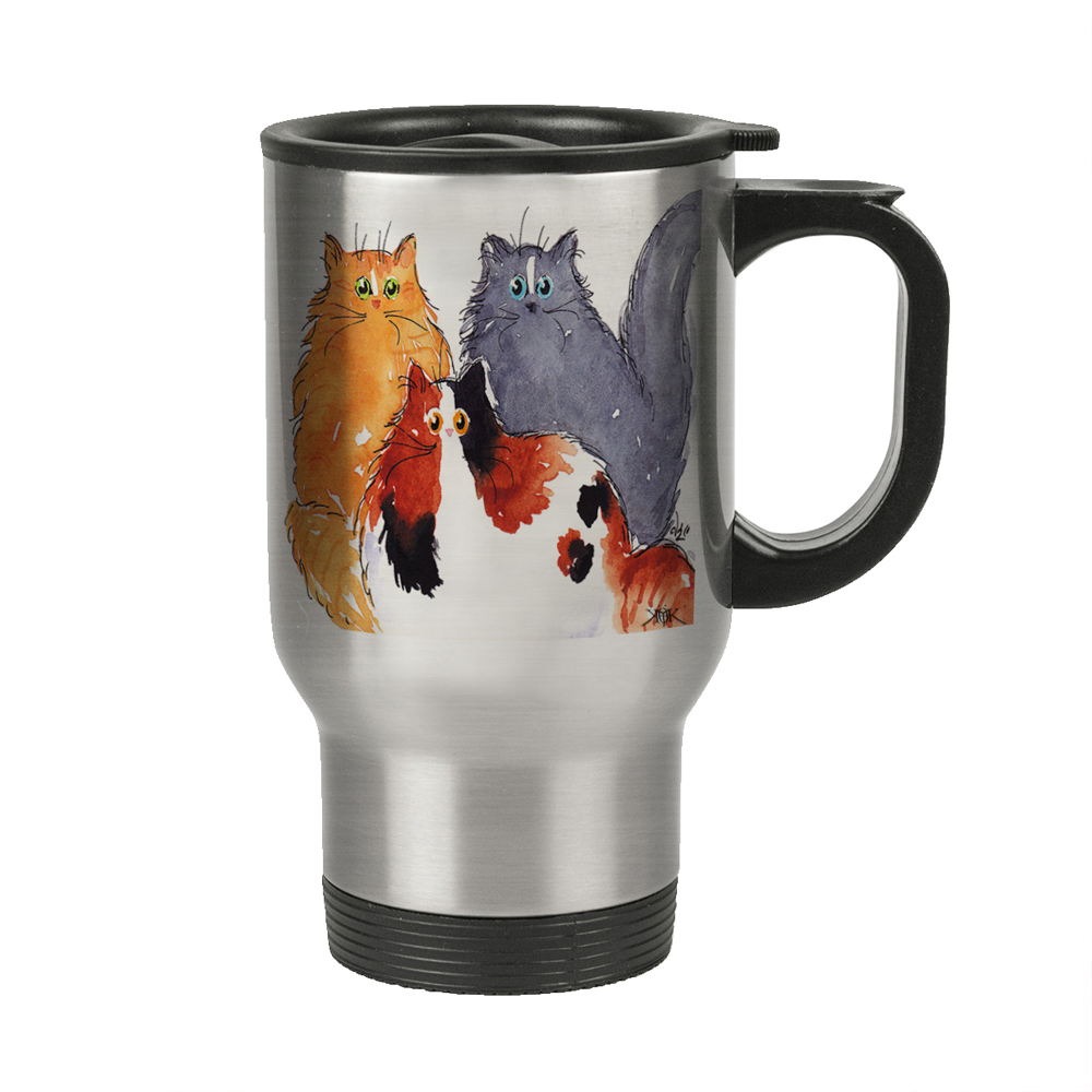 KuzmarK Insulated Stainless Steel Travel Mug 14 oz. - Three Maine Coon Kitties Abstract Cat Art by Denise Every