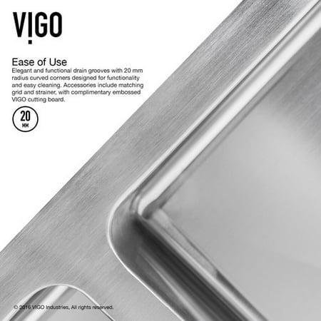 Vigo 29 Inch Undermount 50 Double Bowl 16 Gauge Stainless Steel Kitchen Sink With