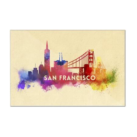 San Francisco, California - Skyline Abstract - Lantern Press Artwork ...