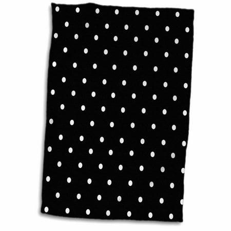 3dRose Black and white polka dot pattern - small dots - stylish classic - classy elegant retro dotty spotty - Towel, 15 by (Spotty Dot)
