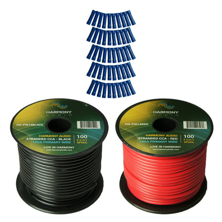 Harmony Audio Primary Single Conductor 14 Gauge Power or Ground Wire - 2 Rolls - 200 Feet - Red & Black for Car Audio / Trailer / Model Train / (Best Car Audio Power Wire)