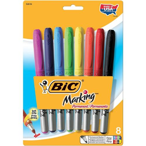 Bic Marking Permanent Fine Point Marker, Assorted Colors 8 ea (Pack of 2)
