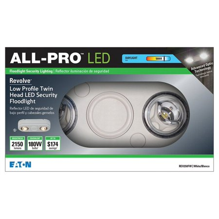 Eaton - All Pro Double LED Security Floodlight - White Revolve Flood Light Only 5000K - REV250FW
