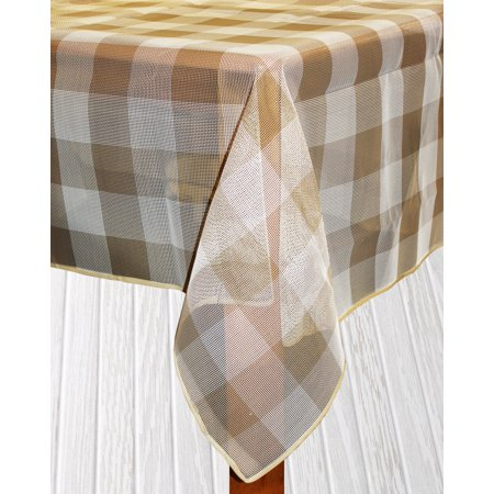Bistro Check Indoor/Outdoor Table Cloth, Sand