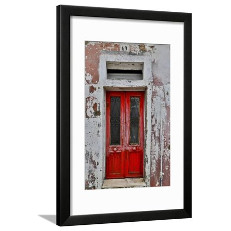 Red Doorway Old Building Burano, Italy Door Architecture Photography Framed Print Wall Art By Darrell Gulin (Doorway Framed)