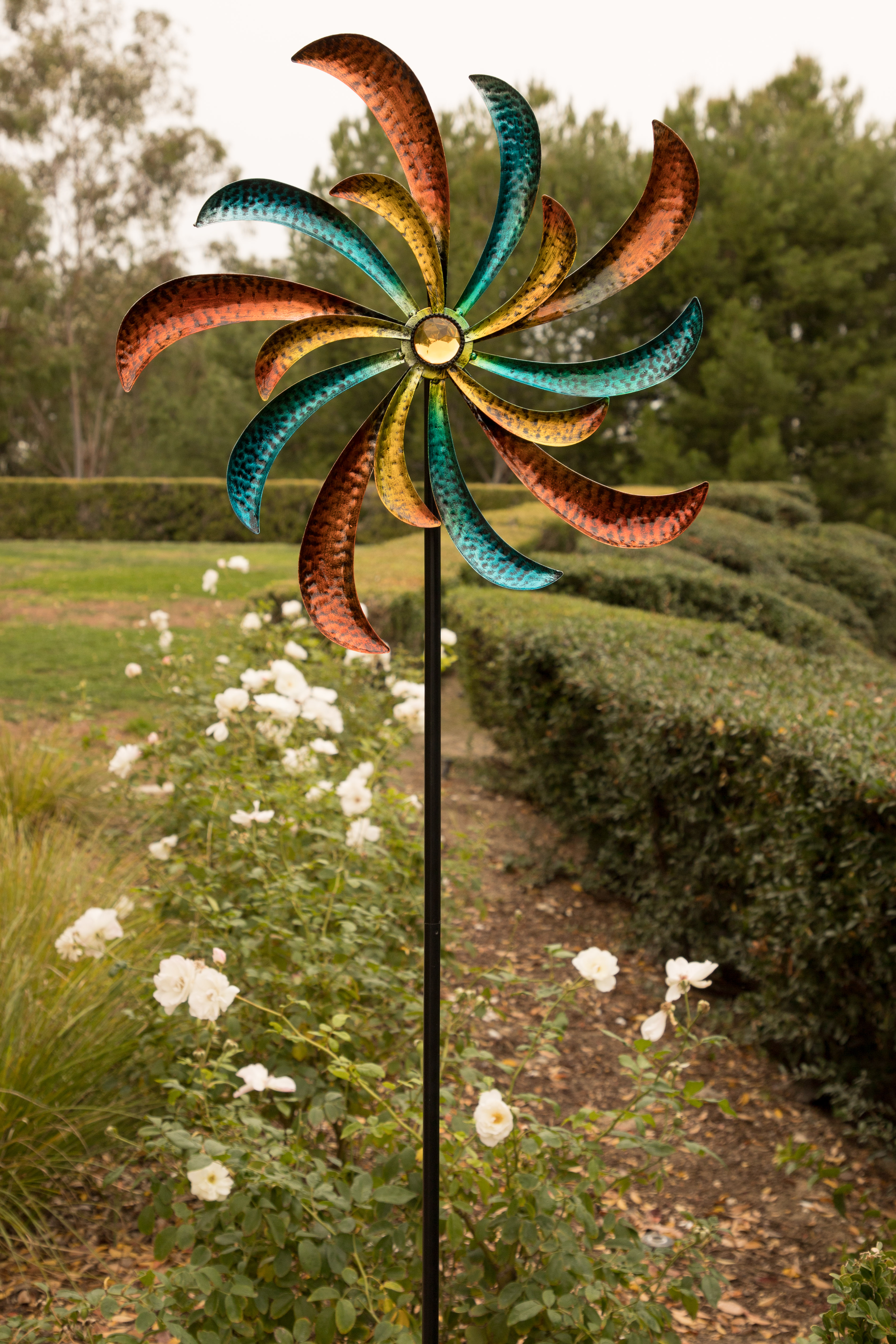 Alpine Colorful Swirl Kinetic Wind Spinner Garden Stake, 64 Inch Tall by Alpine Corporation