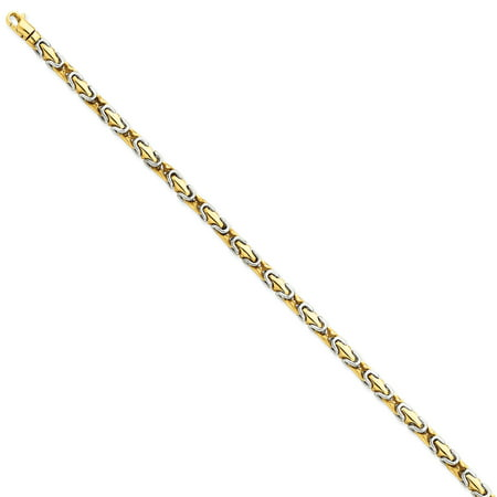14k Yellow and White Gold Two-tone 4.1mm Polished Fancy Link Bracelet Length 8 Inch - image 2 de 2