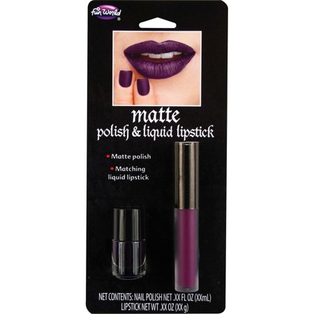 Fun World Halloween Matte Lip & Nail Set 2pc Makeup Set, 0.19 FL OZ, Purple - Black Light Halloween Makeup