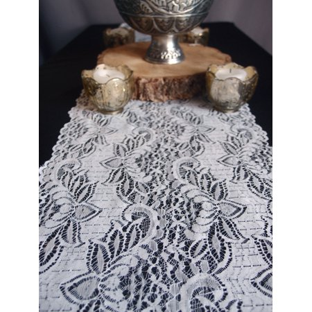 Quasimoon Vintage White Lace Style No.1 Table Runner (12 x 108) by PaperLanternStore