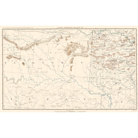 Old Topographical Map Print - Texas, Arkansas, Indian Territory ...
