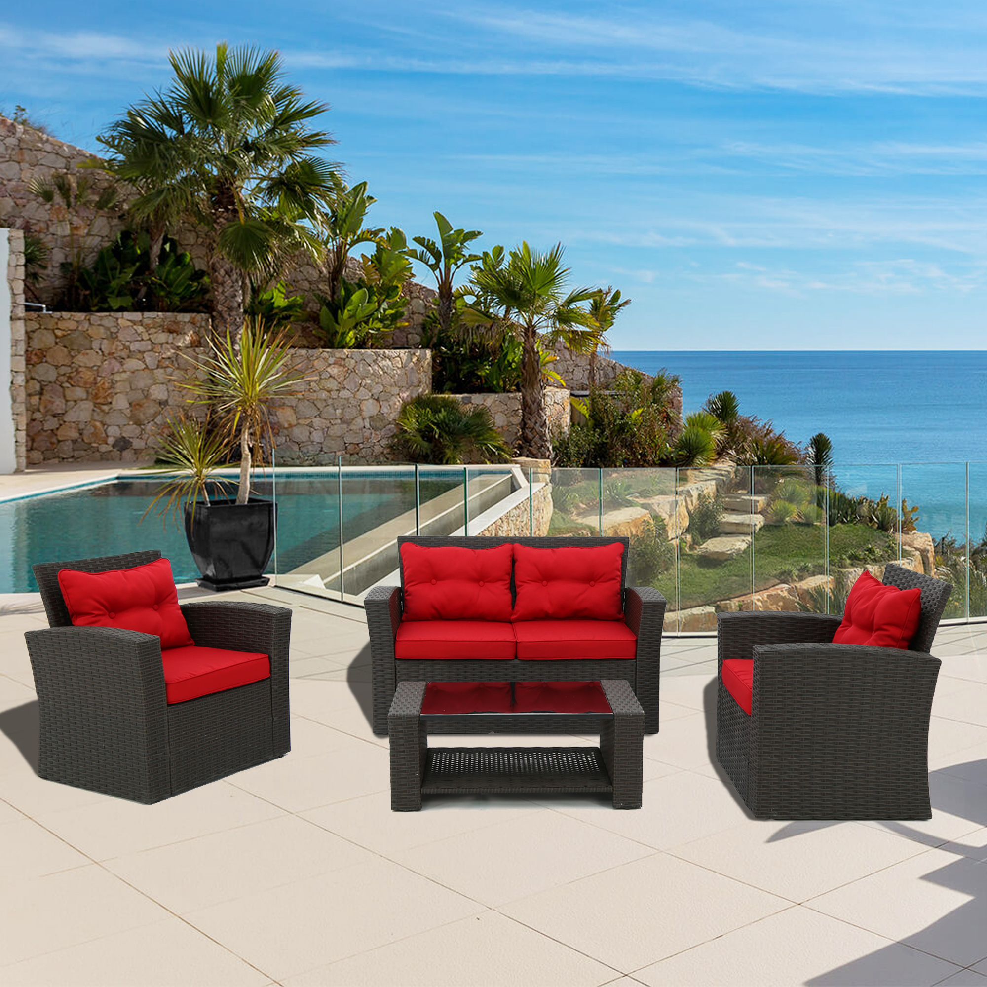 Baner Garden N87-BL-CST-R 4 Piece Outdoor Furniture Set All Weather Deep Seating Patio Chair Seat and Back Cushion Set with Black Rattan and Red Cushions