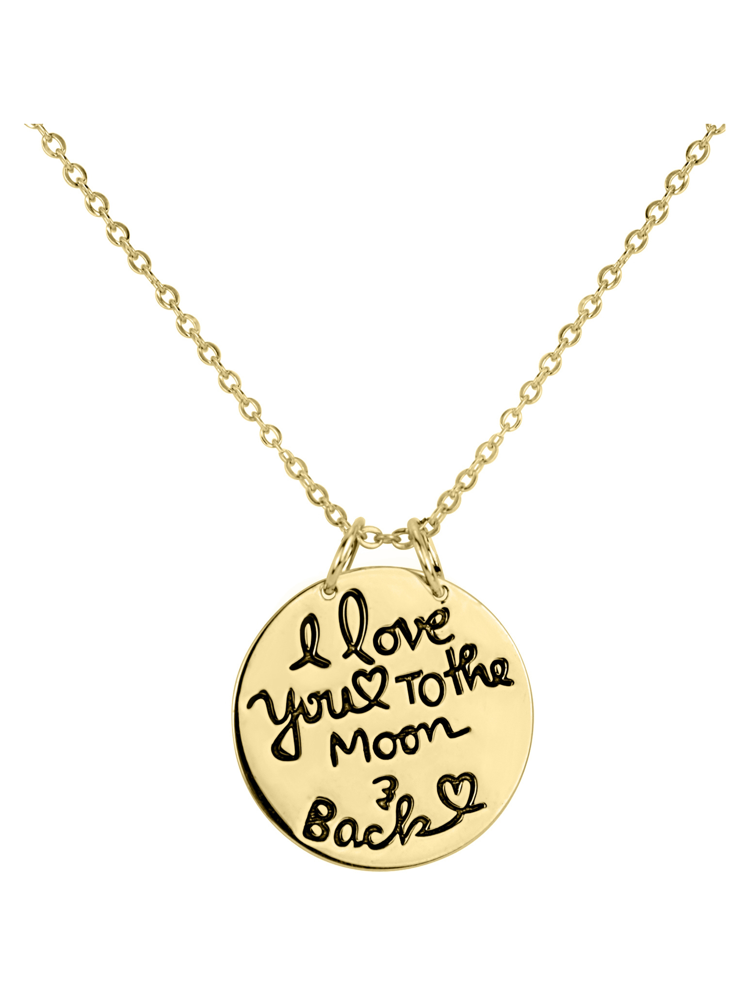 18kt Gold Over Sterling Silver Script I Love You To The Moon and Back Pendant, 18""