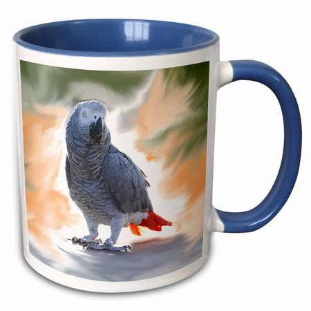 (3dRose African Grey Parrot - Two Tone Blue Mug, 11-ounce)
