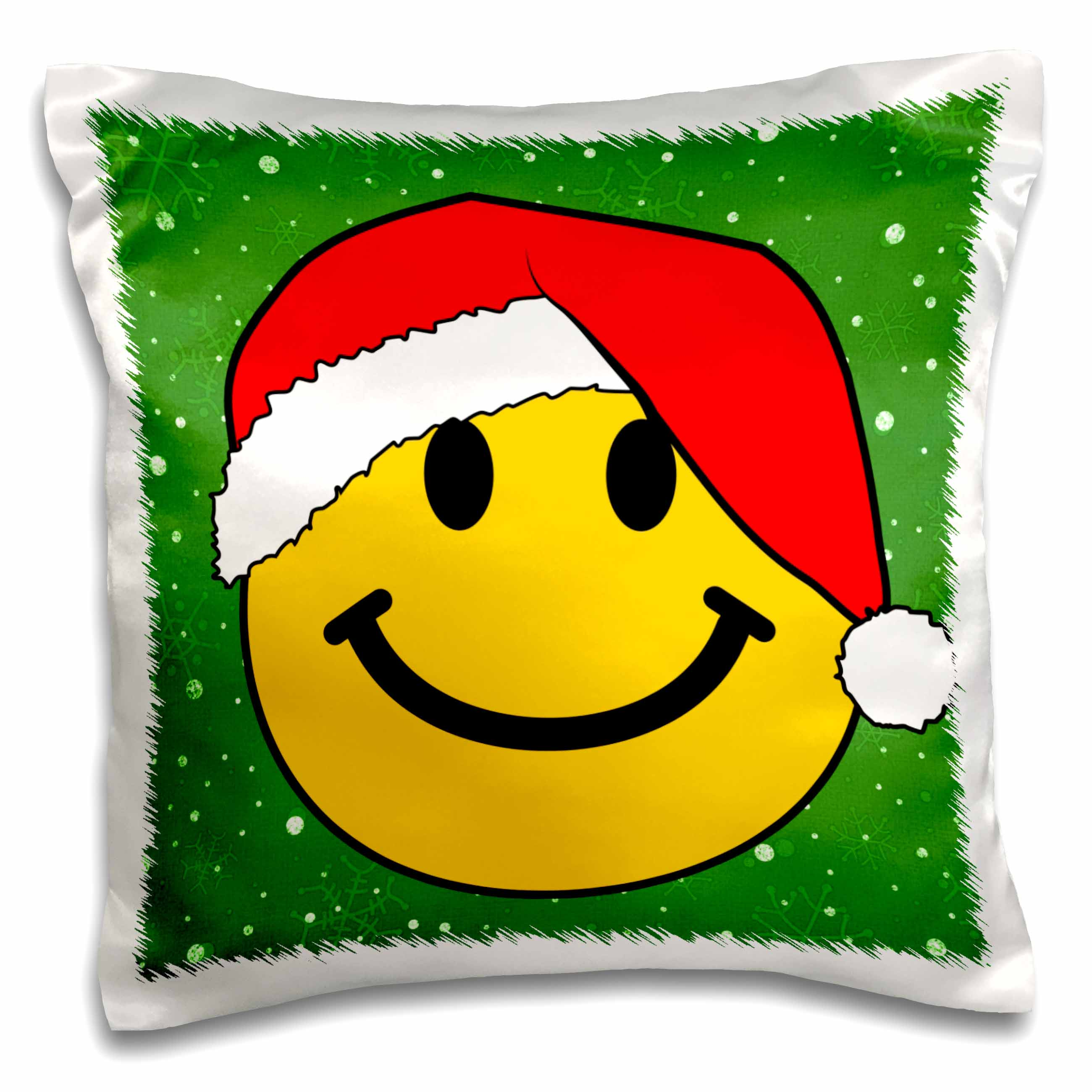 3dRose Christmas smiley face with red santa hat Happy smilie claus Green festive xmas merry jolly cartoon, Pillow Case, 16 by 16-inch