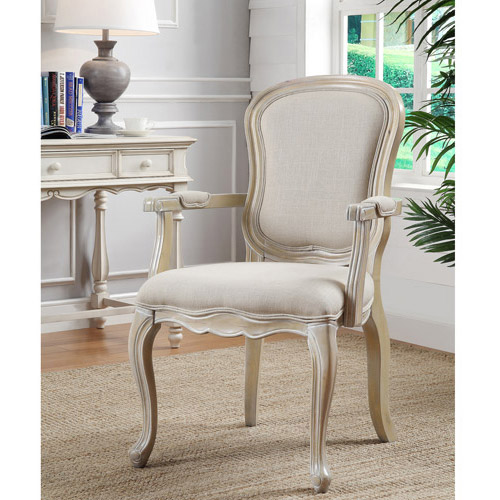 Coast to Coast Curved Leg Accent Chair, Eastham Natural Wash with Ivory Fabric
