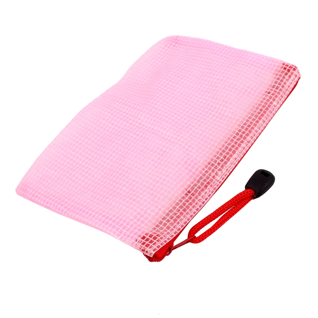PVC Zippered Mesh A6 Paper Document File Storage Bag Holder Pouch Pink