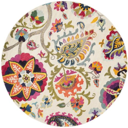 Safavieh Monaco Floral Ivory   Multicolored Rug (6'7 Round) by Overstock