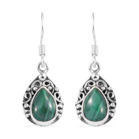 Women's Pear Malachite Sterling Silver Dangle Drop Earrings Fish Hook (Azurite Malachite Earrings)
