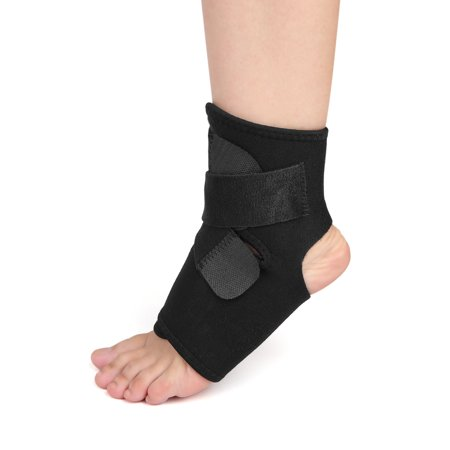 Black Ankle Foot Support with Hook Loop Closure Therapy Wrap Protector