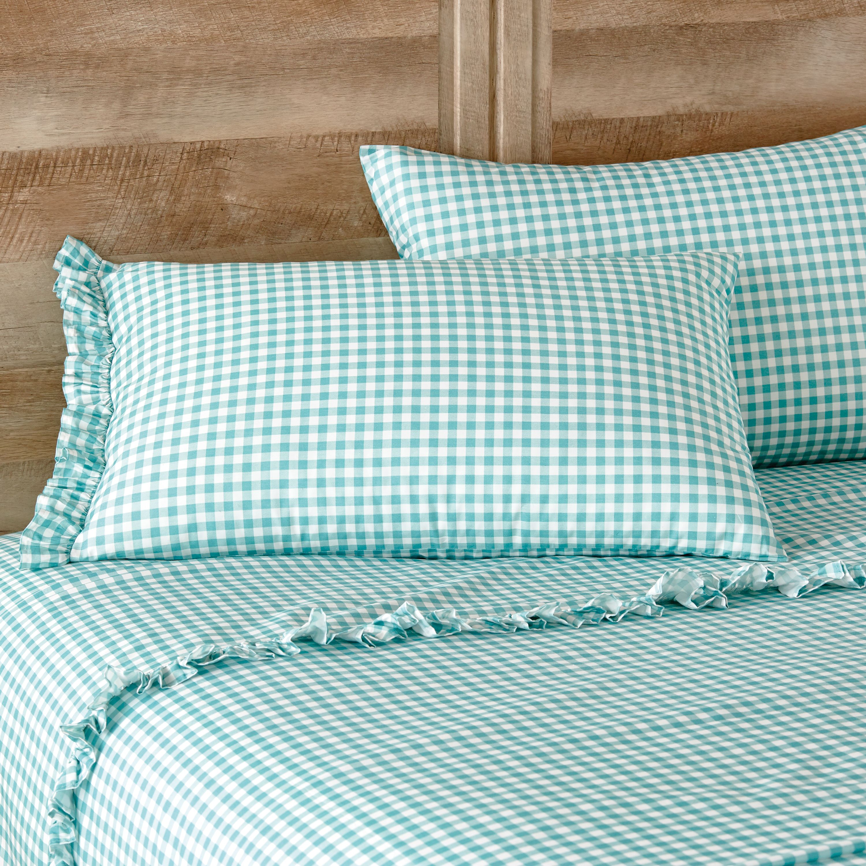 The Pioneer Woman Gingham Teal Ruffle Queen Sheet Set