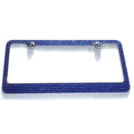 6 Row BLUE Mega Bling Diamond Sparkle Rhinestone License Plate Frame ...