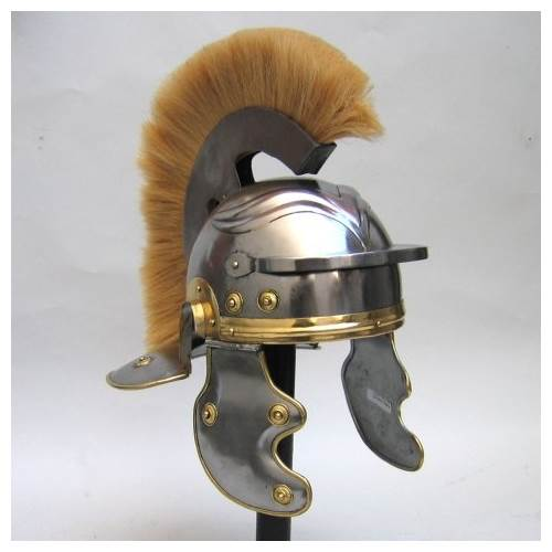 Armor Helmet Roman with White Plume