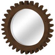"mercana 37141 wall mirror, 26"" x 4"", medium brown"