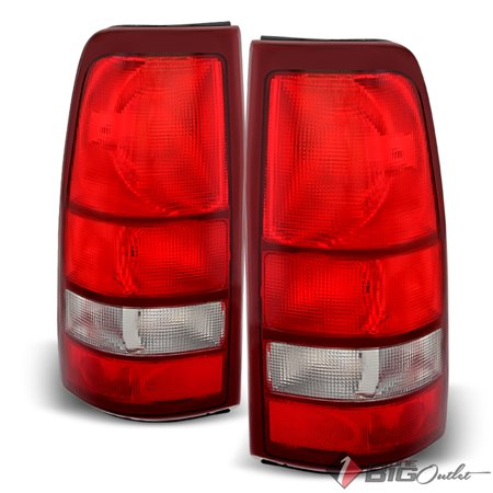 For 1999-2002 Silverado, 1999-2003 Sierra Red Clear Factory Style Tail Lights Assembly Pair Left+Right 2000 2001