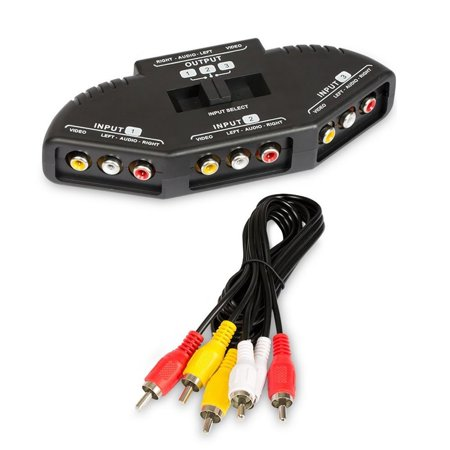 Generic 3 Way Audio Video Rca Switch Selector Splitter Box
