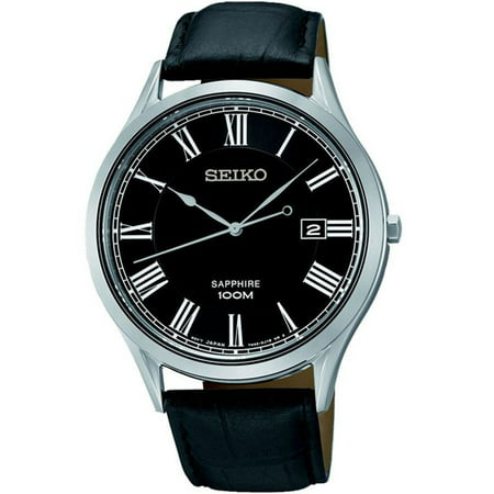 - SEIKO SGEG99P1,Men's dress,Stainless Steel Case,Leather Strap,Sapphire Crystal,date,100m WR,SGEG99