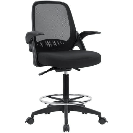 Walnew Office Drafting Chair Tall Office Chair with Flip-up Armrests Executive Computer Standing Desk Chair with Adjustable Footrest Ring (Black)