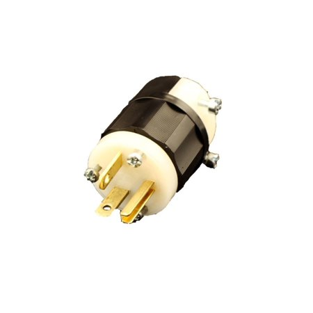 5366-C 20 Amp, 125 Volt, Plug, Straight Blade, Industrial Grade, Grounding, Black-White, Ergonomically Designed Fluted Body with Radial Gripping.., By Leviton