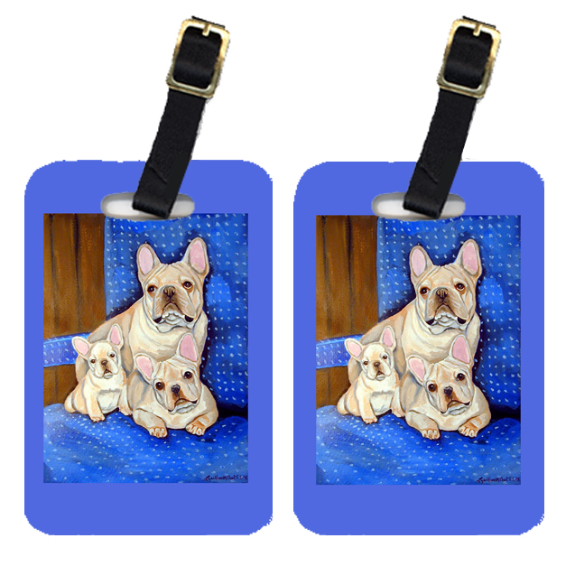Pair of 2 White Frenchies in Momma's Chair French Bulldog Luggage Tags