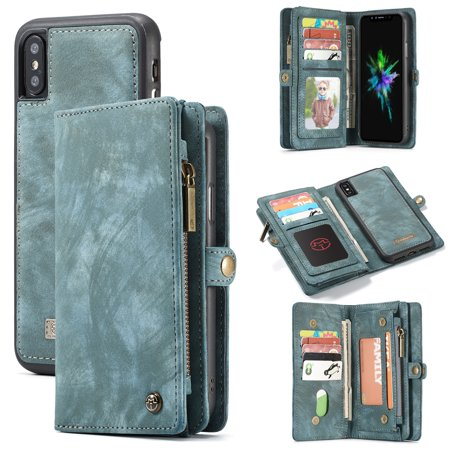For iPhone Xs / iPhone X Wallet Detachable Case, Multi-functional 2 in 1 Folio Flip Leather Removable Magnetic Back Cover with 11 Card Holder and Zipper Money Pocket, (2 Cash Back Credit Card No Annual Fee)