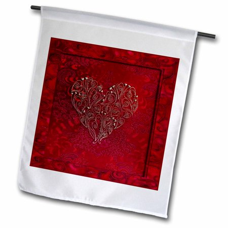 3dRose Gold Heart Design on Scarlet Red - Garden Flag, 12 by 18-inch